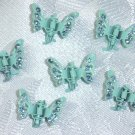 Ocean color rhinestone mini butterfly enamedled set of 6 hair clip claws