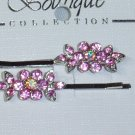 Genuine Swarovski Crystal elements pink flower bobbi pin pair hair fascinators