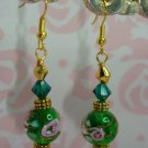 22K GP GREEN wedding cake LAMPWORK BEADED SWAROVSKI CRYSTAL EARRINGS