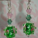 GREEN BUMPY BORO LAMPWORK ROSE SWAROVSKI CRYSTAL BALI PLATINUM PLATED EARRINGS