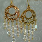 ARTISAN SWAROVSKI CRYSTAL CHANDELIER EARRINGS 22K GOLD PLATED FRENCH HOOKS