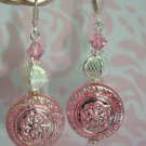 VINTAGE LUCITE BEAD SWAROVSKI SS PLATED PINK ARTISAN EARRINGS