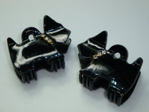 Pair Swarovski crystal elements matching scottie dog hair claw clips
