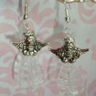 STERLING SILVER 925 & SS PLATED CZECH & SWAROVSKI CRYSTAL ANGEL ARTISAN EARRINGS