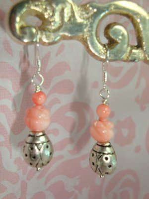 STERLING SILVER 925 CARVED ROSES CORAL BEADS AND LADYBUG BALI ARTISAN EARRINGS