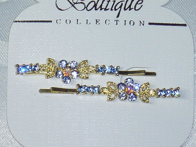 BLUE AND AB CLEAR SWAROVSKI CRYSTAL ELEMENTS  GOLD TONE METAL BOBBI PIN PAIR NEW