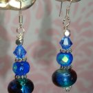 ARTISAN 925 DICHROIC GLASS LAMPWORK BALI SWAROVSKI CRYSTAL ARTISAN EARRINGS BY KITTENKAT22