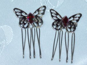 Color changing Swarovski elements hand made metal hair comb twist side comb fascinator pair