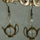 Brass Teapot Crystal Artisan Designer Earrings by Kittenkat22