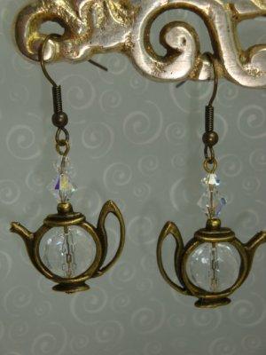 Brass Teapot Crystal Artisan Designer Earrings by Kittenkat22