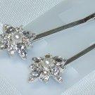 Swarovski Crystal Elements and Faux Pearls bobbi pin hair adornments Wedding