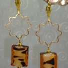 22K GP Tigress Tiger lampwork Swarovski Crystal Earrings handmade by kittenkat22