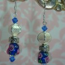 Blue Lampwork Bali Crystal Earrings 925 SS hand made by kittenkat22