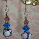 925 SS Mauve and Blue Lampwork and Swarovski Crystal elements earrings handmade by kittenkat22
