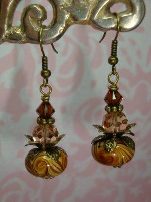 Mocha Lampwork Swarovski Elements Bali Brass Earrings by kittenkat22