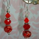 925 SS Red Peacock Lampwork SwarovskiElements Bali Earrings by kittenkat22