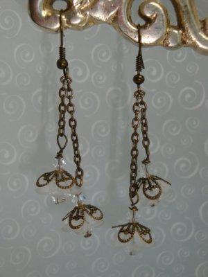 Antiqued Brass flower Drop Swarovski elements Crystal Earrings hand made by kittenkat22
