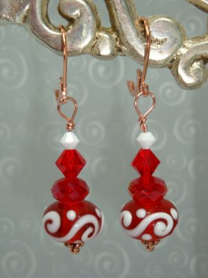 Swarovski Crystal elements Red and white Lampwork with Copper Earrings by kittenkat22