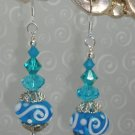 Lampwork Bali Bead SS Turquoise color Swarovski crystal elements earrings by kittenkat22