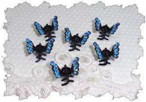 SET OF 6 Royal Blue RHINESTONE Mini Butterfly hair Claw Clips (3A)