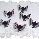 SET OF 6 AB Pink RHINESTONE Mini Butterfly hair Claw Clips (4A)