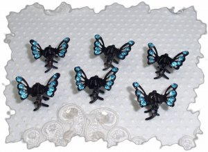SET OF 6 Turquoise RHINESTONE Mini Butterfly hair Claw Clips (5A)