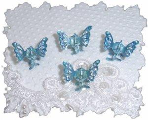 Four Medium Blue Aurora borealis Rhinestone mini butterfly hair claws