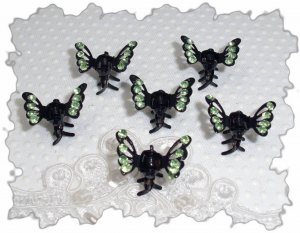 Set of six green rhinestone Mini Butterfly hair claw clip