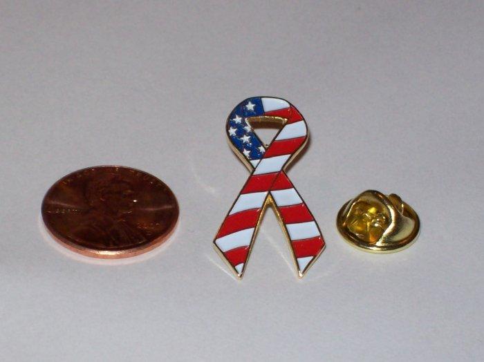 AMERICAN FLAG RIBBON LAPEL PIN