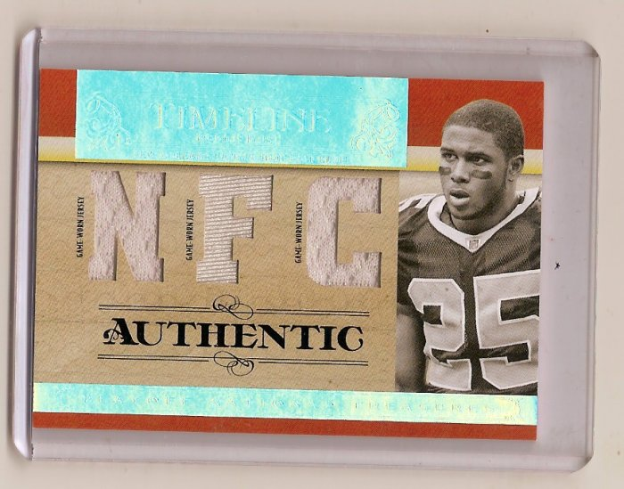 REGGIE BUSH 2007 PLAYOFF NATIONAL TREASURES TIMELINE TRIPLE JERSEY CARD SERIAL #'D 15/25