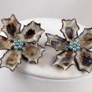 VINTAGE EARRINGS Huge Genuine Sea Shell seashell Blue