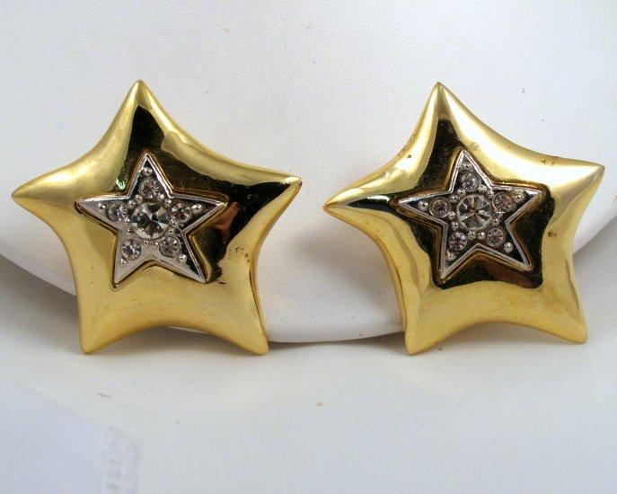 VINTAGE EARRINGS Big Star Clips Rhinestones