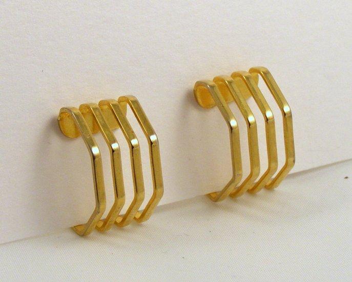 VINTAGE EARRINGS Angular Openwork Golden Hoops Clip Back Geometric