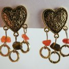 VINTAGE EARRINGS Tiger Eye Stone Nugget Heart Loop Dangle Clips