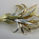 VINTAGE PIN BROOCH Emmons Golden Silvery Feather 3""