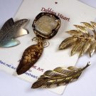 VINTAGE PIN BROOCH LOT of 4 Leaf Motif Leaves Earthy Golden Silvery
