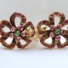 VINTAGE EARRINGS Fuschia Green & Pink Rhinestone Flower