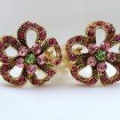 VINTAGE EARRINGS Fuschia Green & Pink Rhinestone Flower