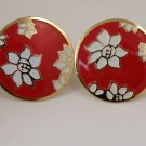 VINTAGE EARRINGS White Red Enamel Flower Disks Clips