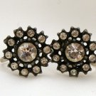 VINTAGE EARRINGS Nemo Crystal Rhinestones Jappanned Black Screw Back