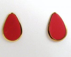 VINTAGE PIERCED EARRINGS Coral Pink Red Pear Enamel