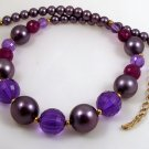 VINTAGE NECKLACE Big Purple Facet Lucite Beads Japan
