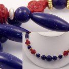 VINTAGE NECKLACE Faux Lapis Sparkly Blue Lucite Blood Red Bead