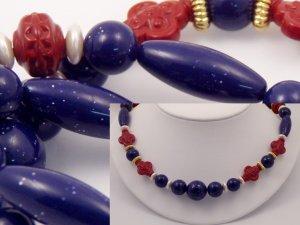 VINTAGE NECKLACE Faux Lapis Sparkly Blue Lucite Blood Red Bead