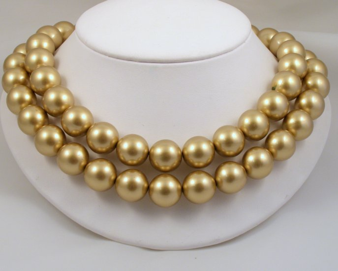 VINTAGE NECKLACE Golden Gumballs Lucite Beads 2 strand