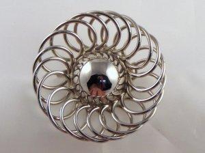 VINTAGE PIN BROOCH Mod Silvertone Flower Power WOW