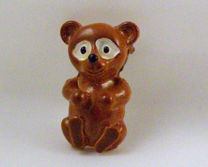 VINTAGE PIN BROOCH Little Enamel Brown Bear Gerrys CUTE