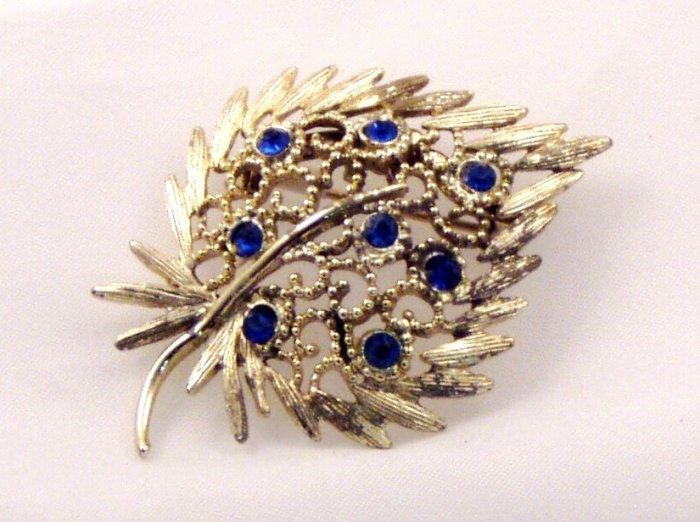 VINTAGE PIN BROOCH Ornate Blue Rhinestone Strawberry