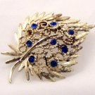 VINTAGE PIN BROOCH Ornate Blue Rhinestone Strawberry