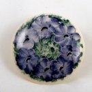 VINTAGE PIN BROOCH Ceramic Blue Flowers Circl Porcelain